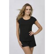 Women Bamboo Fiber Pajama Crew Neck Short Sleeves & Shorts - Black