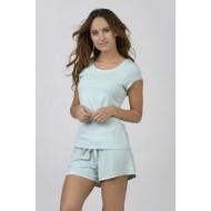 Women Bamboo Fiber Pajama Crew Neck Short Sleeves & Shorts - Green