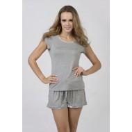 Women Bamboo Fiber Pajama Crew Neck Short Sleeves & Shorts - Gray