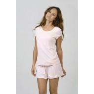 Women Bamboo Fiber Pajama Crew Neck Short Sleeves & Shorts - Pink