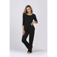 Women Bamboo Fiber Pajama Crew Neck 3/4 Sleeves & Pants - Black