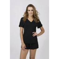 Women Bamboo Fiber Pajama V Neck Short Sleeves & Elastic Shorts - Black