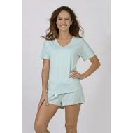 Women Bamboo Fiber Pajama V Neck Short Sleeves & Elastic Shorts - Green
