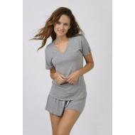 Women Bamboo Fiber Pajama V Neck Short Sleeves & Elastic Shorts - Grey