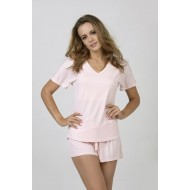 Women Bamboo Fiber Pajama V Neck Short Sleeves & Elastic Shorts - Pink