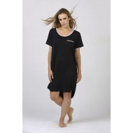 Women Bamboo Fiber Pajama Crew Neck Short Sleeves, Front Pocket, Rounded Hem - Black