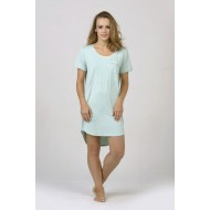 Women Bamboo Fiber Pajama Crew Neck Short Sleeves, Front Pocket, Rounded Hem - Green