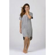 Women Bamboo Fiber Pajama Crew Neck Short Sleeves, Front Pocket, Rounded Hem - Grey