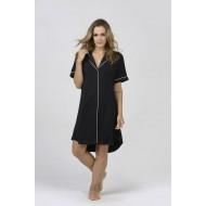 Women Bamboo Fiber Pajama Low Cut Neck Line, Short Shirt Tail Hem - Black