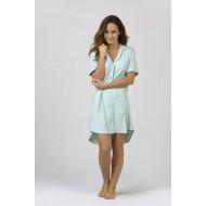 Women Bamboo Fiber Pajama Low Cut Neck Line, Short Shirt Tail Hem - Green