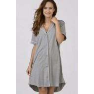 Women Bamboo Fiber Pajama Low Cut Neck Line, Short Shirt Tail Hem - Grey