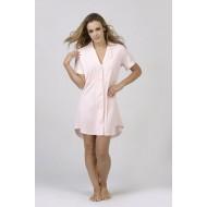 Women Bamboo Fiber Pajama Low Cut Neck Line, Short Shirt Tail Hem - Pink